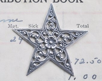 TWO Small Filigree star brass stamping, Sterling Silver Finish