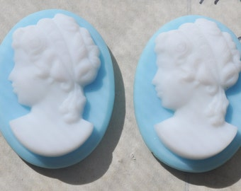TWO Vintage Ceramic Cameos, White and Aqua, 25mm X 33mm