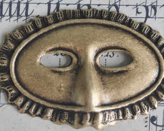 Venetian mask brass stamping for scrapbooking, brass ox