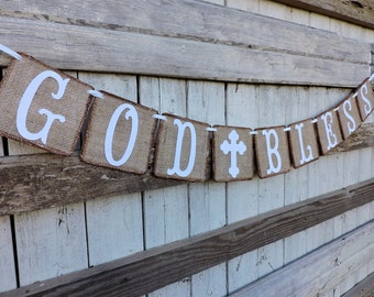 Baptism Banner, First Communion Banner, Baby Or Child Dedication, Burlap God Bless Banner, Confirmation Banner, Baptism Sign