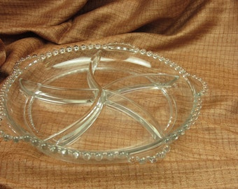 Vintage Candlewick Five Section Divided Relish Tray Clear Glass with Bead Edge by Imperial Glass with Handles