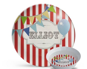 Personalized Plate Set, Carnival Plate, 2 Piece Set, Plate, Bowl Set, Circus Birthday, Carnival Party, Children's Melamine Plate Set