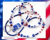 SPIRIT DAYS- Beaded ID Lanyard- Sparkling Crystals, Millefiore and Matte Beads, & Chevron Beads (Comfort Created)