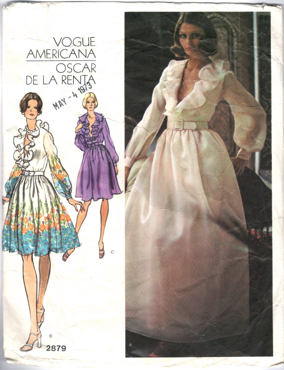 1970s ruffled Oscar de la Renta dress pattern Vogue 2879