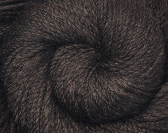 Hand spun yarn - Silk / Merino wool, DK weight - Black Silk Blend - 270 yards