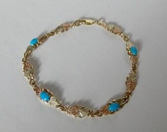 Whitaker's Black Hills Gold 10K Natural Sleeping Beauty Turquoise Bracelet