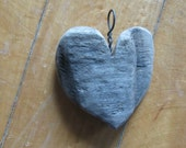 Weathered Driftwood Heart Shaped Necklace Pendant w Black Steel Bale One of a Kind