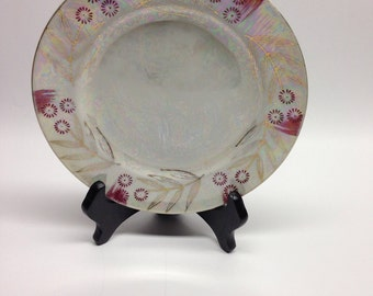 Foreign Fine China Antique Dessert Plate Pink Daisy  Hand Painted lusterware plate pink opal gold rare