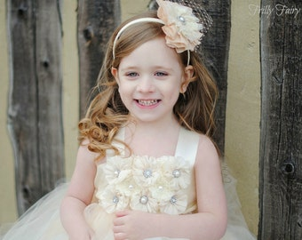 Champagne Ivory Hair Accessory, Flower girl headband clip