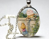 Oval Alice In Wonderland Humpty Dumpty glass dome pendant necklace (silver or bronze)