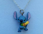 Stitch Necklace, Squirt Gun Stitch, Disney Jewelry, Silver Necklace, OOAK gift by LetMeBe
