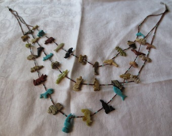 Hand Carved FETISH Stone and Heishi 3-Strand NECKLACE likely Zuni