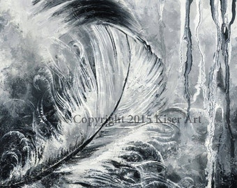 12 ×12 Print of original black and white Feather Mixed Media Painting on Tile