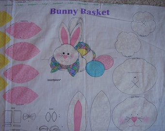 Easter Bunny Basket and Eggs Fabric Panel from Dreamspinners
