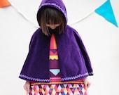 Purple velvet Christmas party cape with dress set (optional)