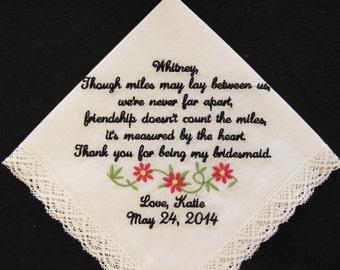 Embroidered Wedding Handkerchief for Bridesmaid