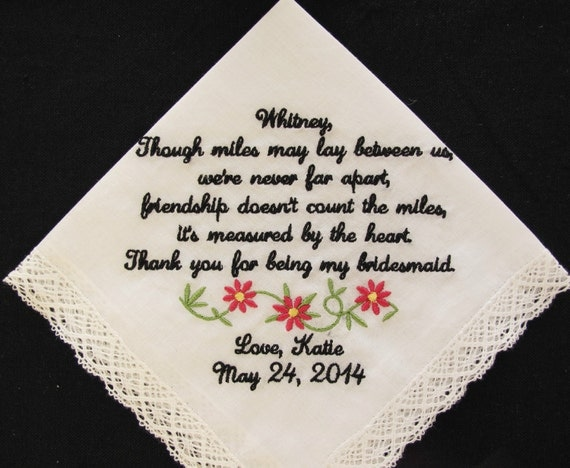 Embroidered Wedding Handkerchief for Bridesmaid