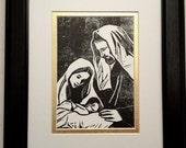Holy Family Print- Christmas- Mary, Jospeh and Jesus Original Linocut Print