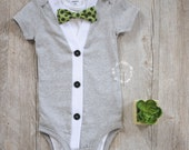 Baby Boy Cardigan Onesie and Bow Tie Set- Solid Grey- Little Mister Cardigan Onesie Set