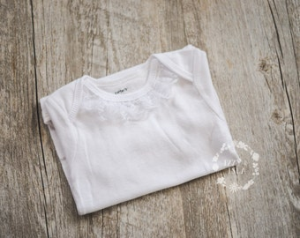 Baby Girl White Lace Detail Onesie