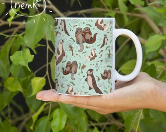 Otter Mug, Ceramic, Illustrated