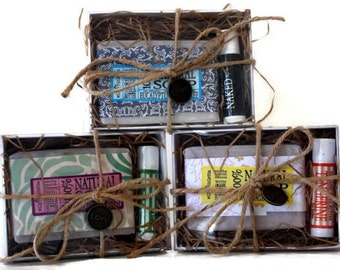 Soap Gift Box / Gift for Him / Gift for Her / Personalized Spa Gift Box / Soap and Lip Balm