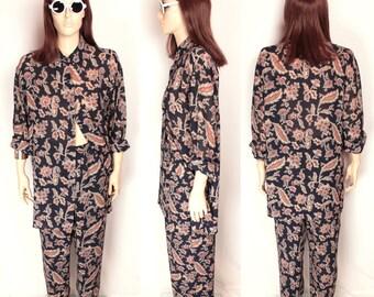 two piece paisley set // pajama style // oversize