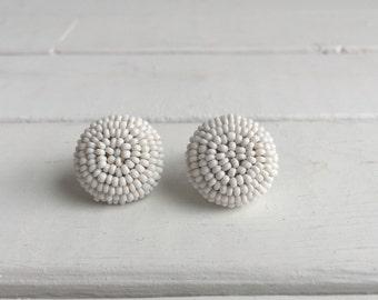 Vintage 40's White Beaded Earrings / Round Elegant Wedding Earrings
