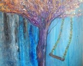 Original Tree Swing Cool Blue Green Nature  Contemporary Modern Landscape Art Painting ,Play with Me, by Sherschart-Sheri Wilson