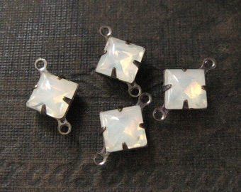 8mm White Opal Vintage Glass Square Rhinestones in Oxidized Brass Settings 2-Loop Connectors (4)