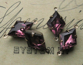 15x10mm Amethyst Purple Diamond Shape Rhinestones in Oxidized Brass Settings 2-Loop Connectors (4)