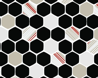 Cloud9 Organic Fabrics - iHaus - Hexagons Red 1/2 YD