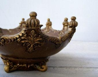 Royal Asian Ornate Oval footed Bowl, Wood imitation Impressive big brown Bowl, Hollywood Regency Table centerpiece, Bird Bath Garden Decor