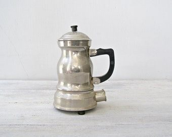 Vintage Electric Water Boiling Pot, Mid century 50s Counter Pot, Old Metal Coffeepot Teapot, Mad Men Office Kitchen Decoration, Photo Prop