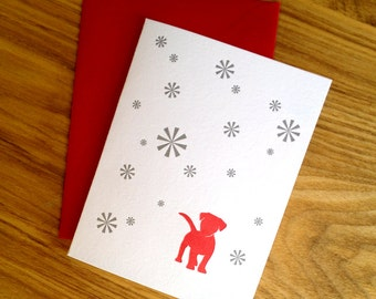 Letterpress Holiday Card - Red Dog with Snowflakes