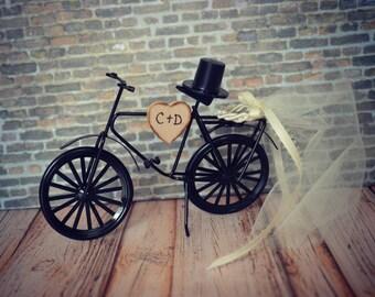 Bicycle-wedding-cake topper-sports-grooms cake-bride-groom-rustic-bicycle wedding topper-ivory veil-initials-custom-bike-biker-bike rider