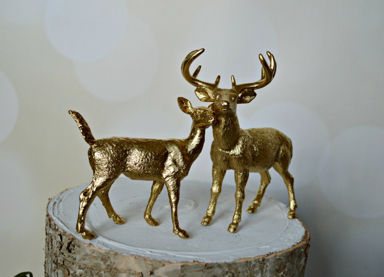 Gold deer wedding cake topper fall deer by MorganTheCreator