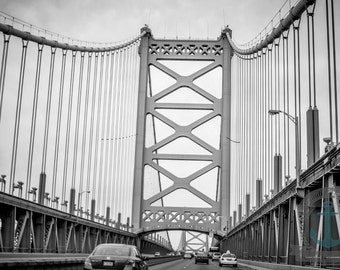 Ben Franklin Bridge Black and White Industrial Cityscape Photography Product Options and Pricing via Dropdown Menu