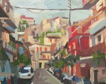 "Cityscape Painting // Graniti (Sicily no. 2) // 9"" x 10"" // Original Acrylic Painting on Paper"