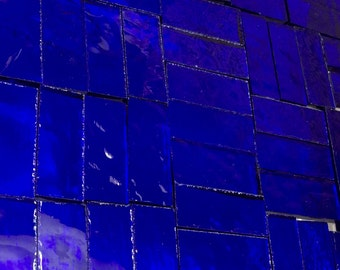25 COBALT BLUE - (3/8 X 1) Stained Glass Border Tiles