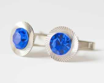 Unisex cufflinks silver blue, rhinestones men's cuff links, round cufflinks gent's accessory, men's fashion