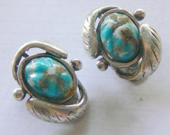 silver 925 robin egg turquoise clip earrings