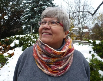 Knitted Textured Cowl With Lots of Colour