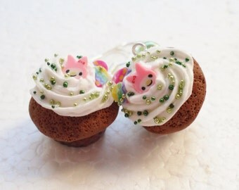 Chocolate Cupcake Earrings. Polymer Clay.