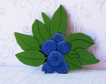 Blueberry wall plaque - Single Sided Wooden wall hangings -Gift for the gardener ...kitchen