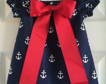 Anchor-themed infant girls' peasant dress, anchor dress, summer dress, nautical