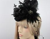 Gothic headdress Fascinator Headpiece black ship Octopus Baroque Rococo Punk Galleon aristocrat