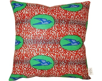 Red Sparrow African wax print Pillow Cover