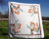 Charming southwest cotton tablecloth with Indian pottery, cactus, desert blooms orange turquoise and brown