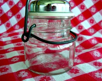 Vintage small canning jar with wire bale rubber gasket and shaker holes rustic farm house farmhouse decor